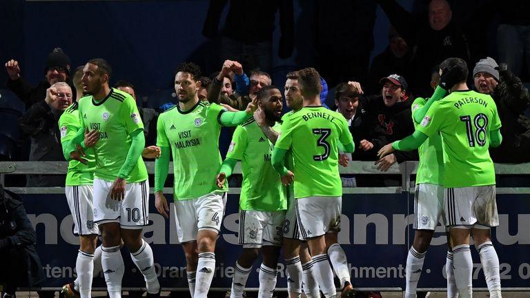 Junior Hoilett celebrates after scoring Cardiff's second goal