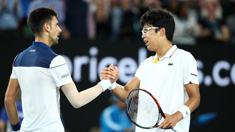 Djokovic congratulates Chung on his surprise victory