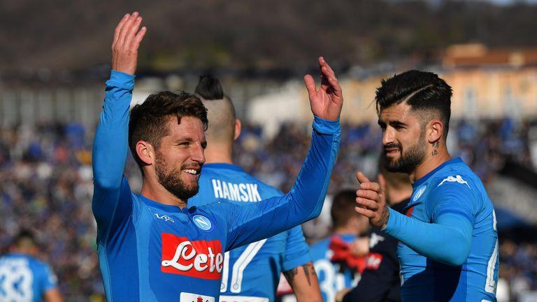 Dries Mertens (left) scored twice for Napoli