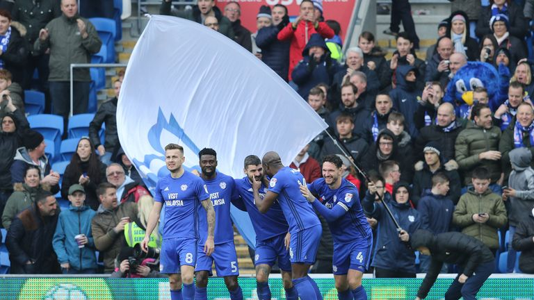Cardiff City players celebrate with Callum Paterson after he makes it 1-0