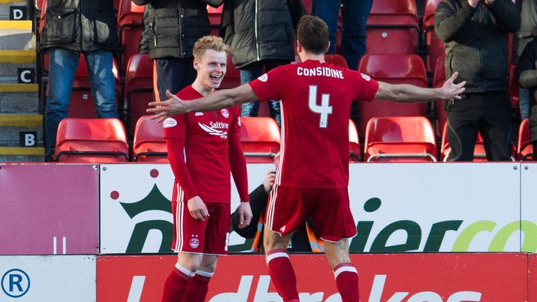 Aberdeen's Gary Mackay-Steven (left) celebrates with his a team-mate after scoring his side's fourth goal
