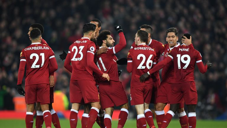 Mohamed Salah (centre) reached No 4 in the Power Rankings chart this week