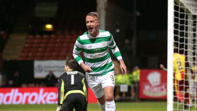 Celtic's Leigh Griffiths celebrates scoring his side's second goal of the game