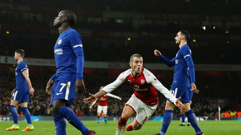 Jack Wilshere turns away from goal to celebrate after giving Arsenal the lead