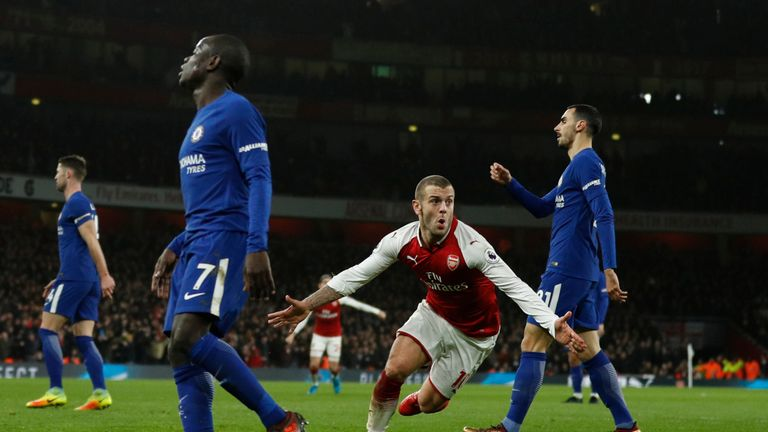 Jack Wilshere celebrates after opening the scoring for Arsenal