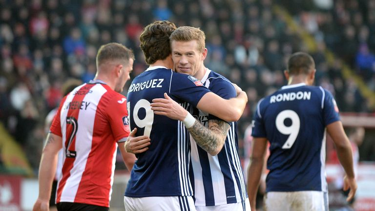 West Brom's Jay Rodriguez celebrates scoring with James McClean