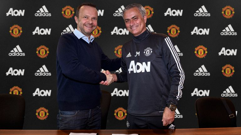 Executive vice-chairman Ed Woodward  with Jose Mourinho  who has signed a contract extension that will keep him at the club until at least 2020