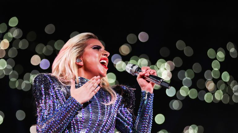 Lady Gaga belts out one of her tracks during Super Bowl LI in Houston