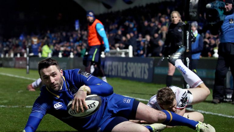 Barry Daly flying in for one of Leinster's six tries at the RDS