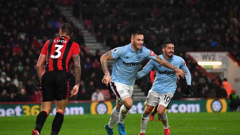 Arnautovic celebrates scoring a late goal at Bournemouth on Boxing Day.