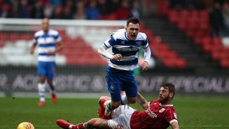 Nathan Baker was dismissed for a foul on QPR's Josh Scowen