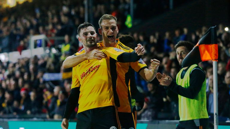 Padraig Amond celebrates with team-mate Mickey Demetriou after opening the scoring