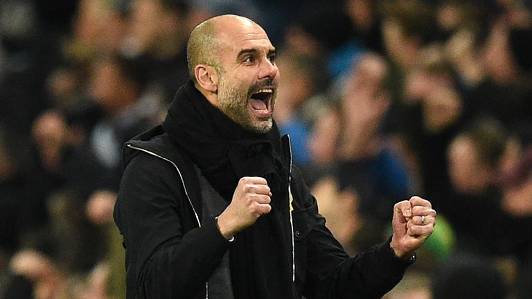 Guardiola celebrates City's first goal during the Premier League match against Newcastle United