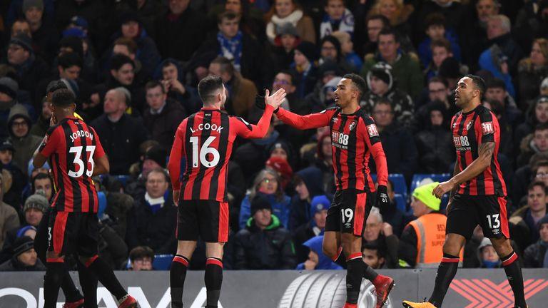 Junior Stanislas celebrates with Lewis Cook Bournemouth go 2-0 up at Stamford Bridge