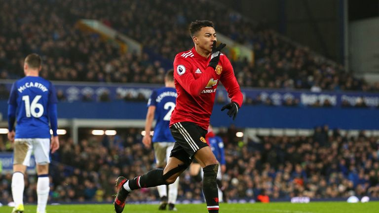 Jesse Lingard celebrates scoring against Everton