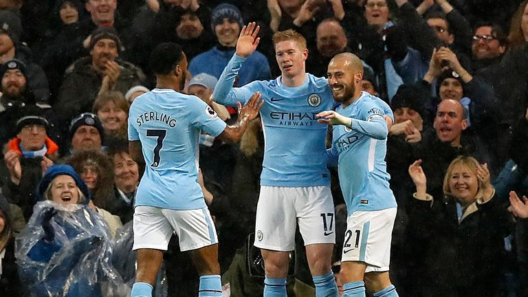 Raheem Sterling, Kevin De Bruyne and David Silva celebrate City's second goal of the game
