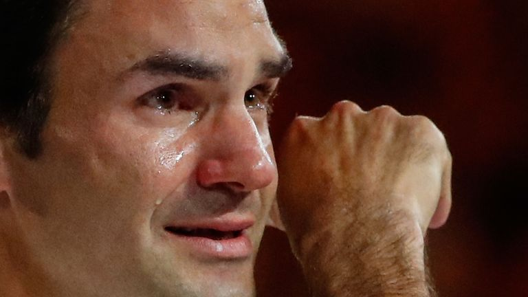 A teary Federer could not believe he was able to defend his title