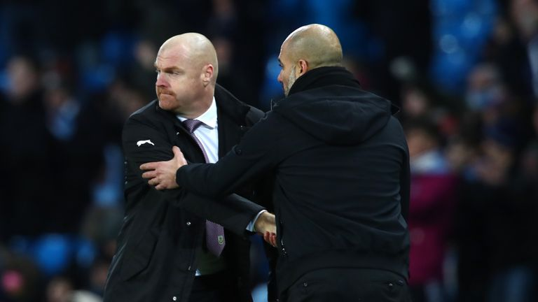 Man City boss Pep Guardiola (right) is Sean Dyche's pick for manager of the year