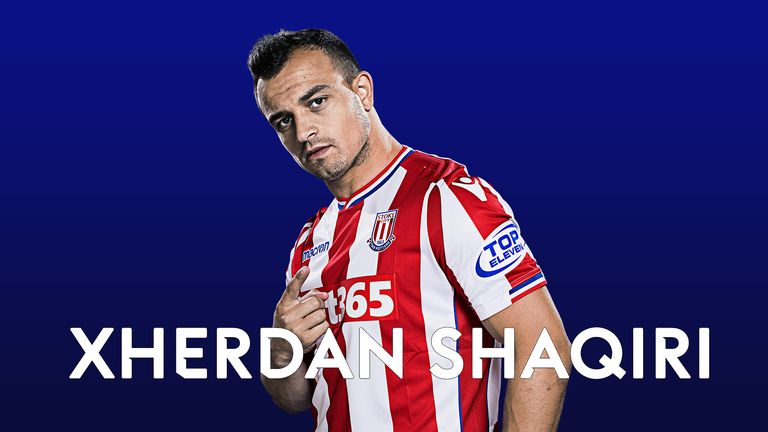 Stoke winger Xherdan Shaqiri climbed four places to reach No 4 in the Sky Sports Power Rankings chart this week
