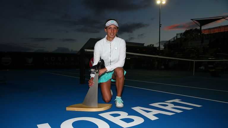 Belgium's Elise Mertens defended her Hobart International title