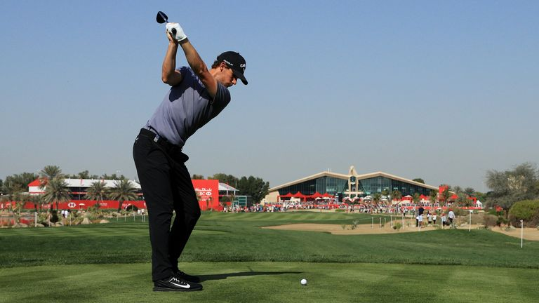 Pieters tees off on the ninth hole at Abu Dhabi Golf Club