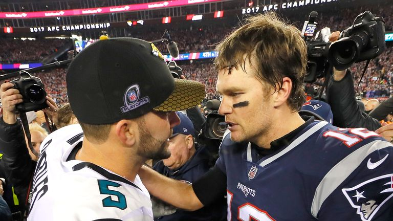 Tom Brady consoles Blake Bortles after the Patriots' win over the Jaguars in last year's AFC Championship game