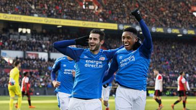 PSV's Gaston Pereiro celebrates his goal