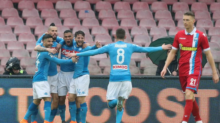 Allan of Napoli celebrates his goal in the win over SPAL