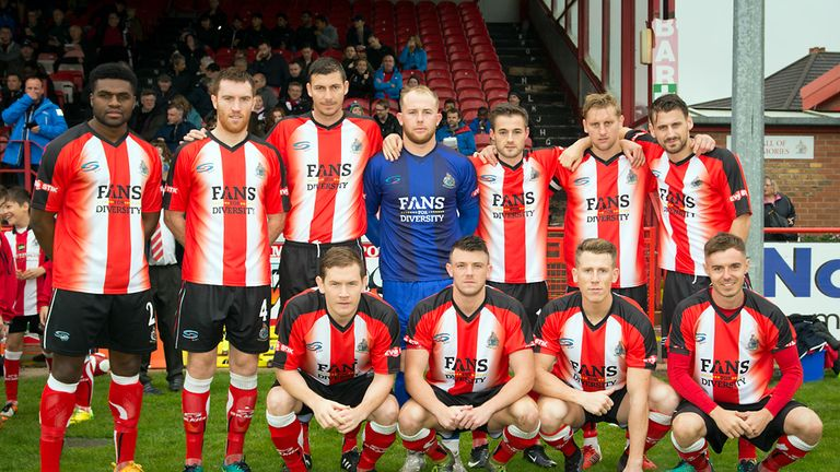 Altrincham wore a special 'Fans for Diversity' kit when they played Rushall Olympic in October
