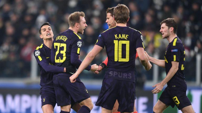 Christian Eriksen celebrates his equaliser against Juventus