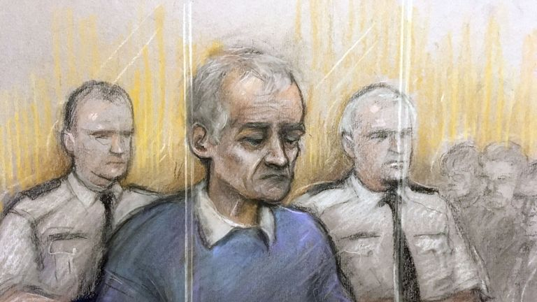 Court artist sketch by Elizabeth Cook of former football coach Bennell appearing at Liverpool Crown Court