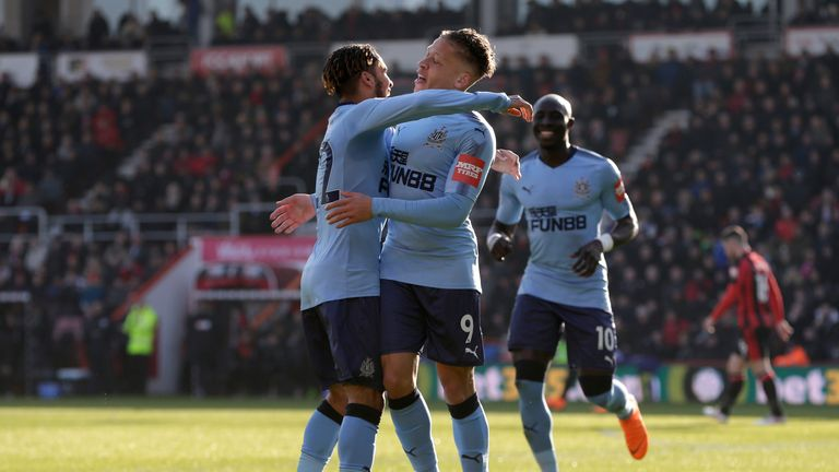 Dwight Gayle celebrates his first goal for Newcastle
