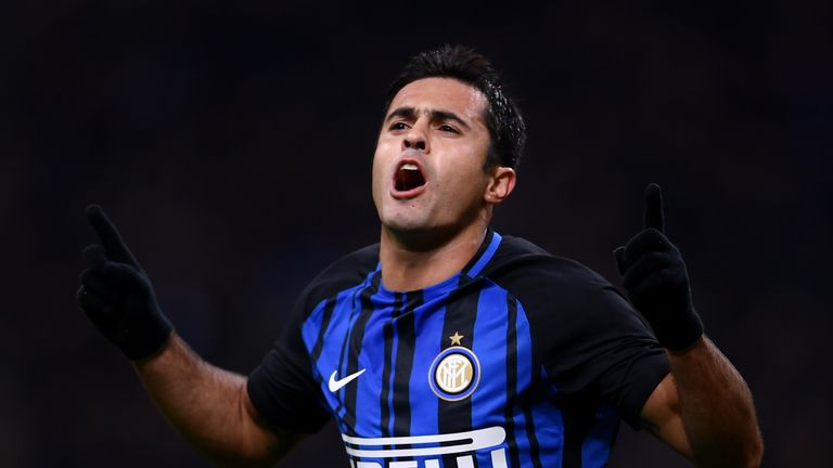 Eder celebrates scoring for Inter Milan