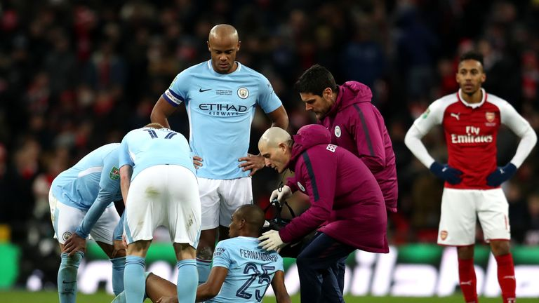 Fernandinho had to be replaced early in the second half of the Carabao Cup final