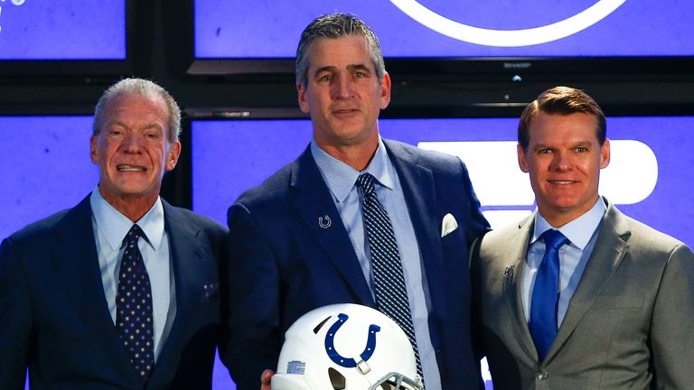 Frank Reich (C) is presented as Colts coach by owner Jim Irsay (L) and general manager Chris Ballard (R)