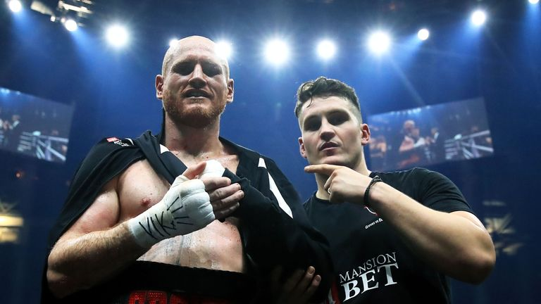 George Groves celebrates after victory over Chris Eubank Jr on Saturday night