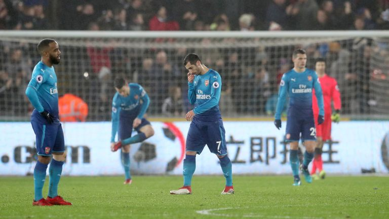 Arsenal conceded three in the defeat at Swansea on Tuesday night