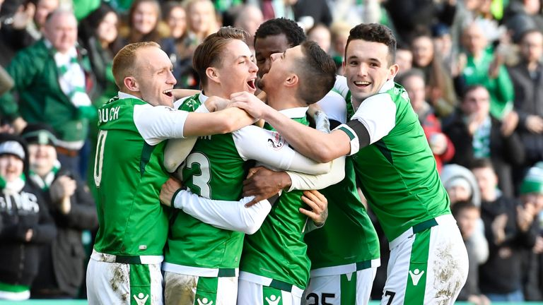 Hibs celebrate after Martin Boyle's goal against Aberdeen