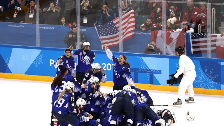 The United States celebrates after defeating Canada