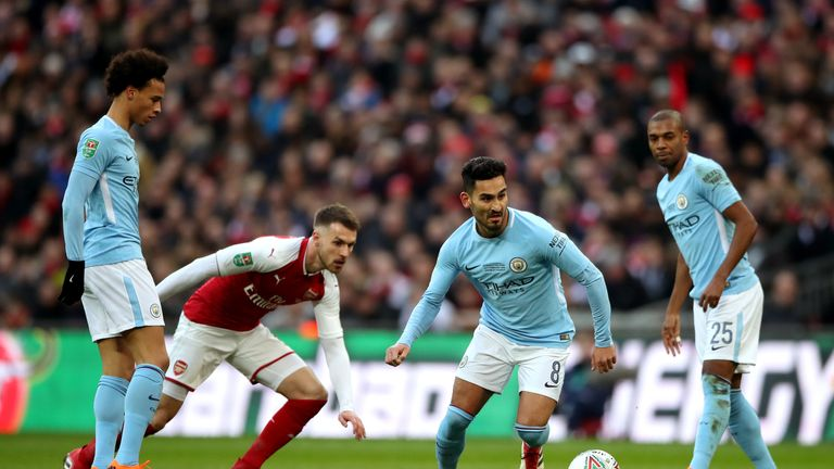 Manchester City's Ilkay Gundogan (second right) in action during the Carabao Cup Final at Wembley Stadium, London.
