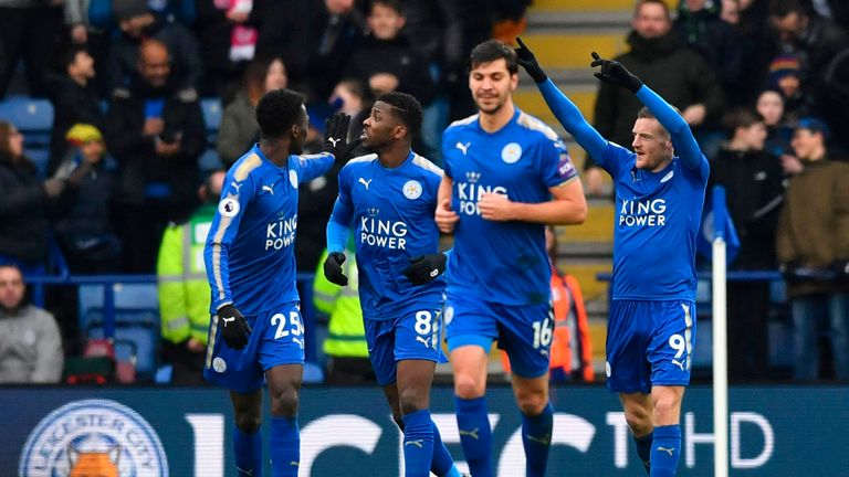 Leicester's players congratulate Jamie Vardy (right) after they broke the deadlock at the King Power