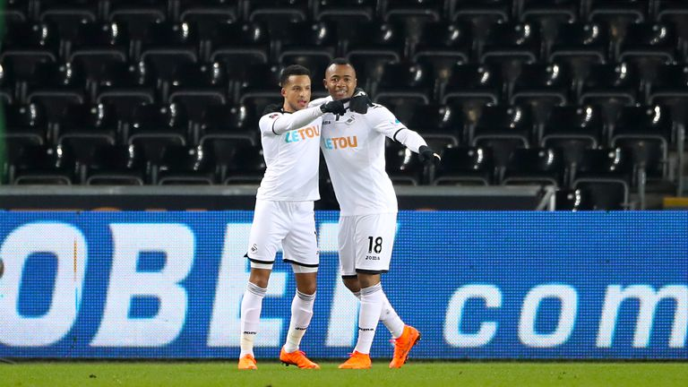 Jordan Ayew scored the opening goal for Swansea on Tuesday
