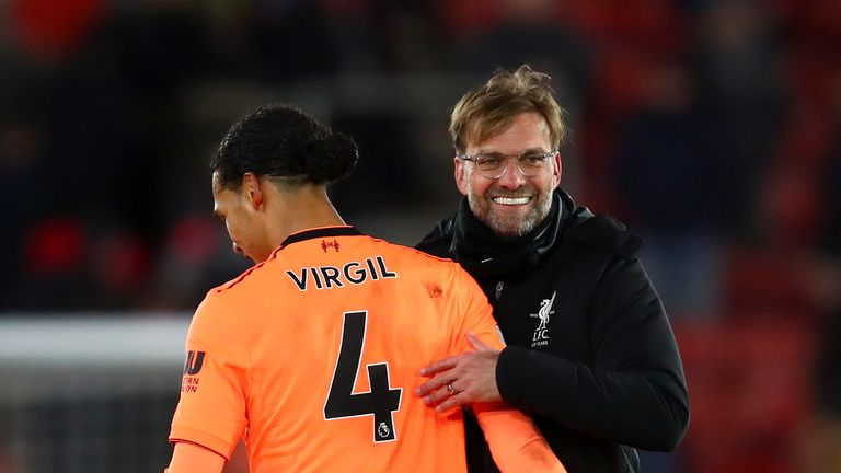 Jurgen Klopp celebrating with Virgil Van Dijk after Liverpool's win over Southampton