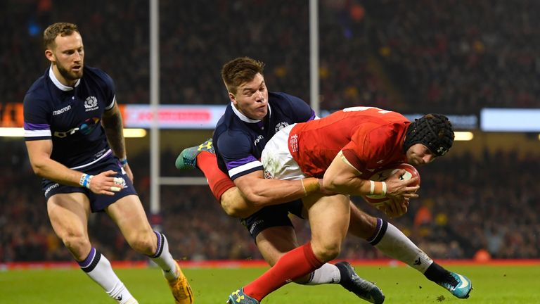 Leigh Halfpenny touches down for the second try for Wales