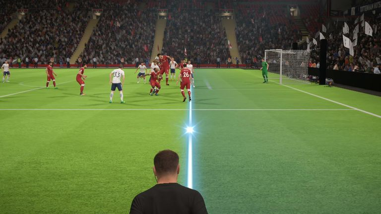 MNF's cutting-edge technology showed assistant referee Eddie Smart's view