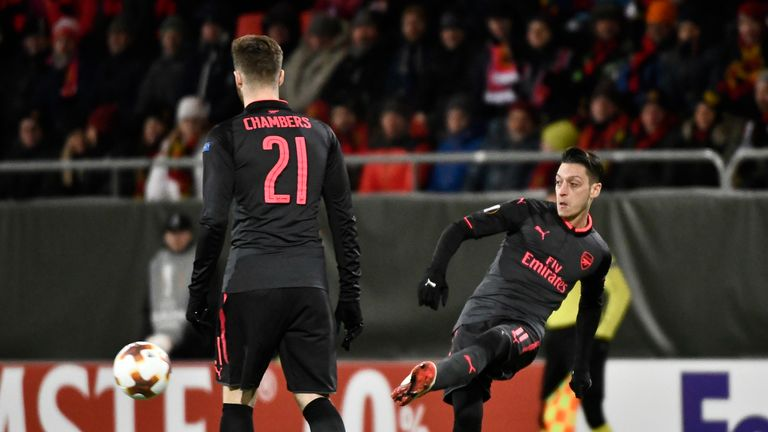Mesut Ozil scored on his first Europa League appearance of the season