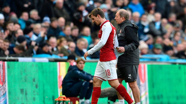 Nacho Monreal was forced off in the first half of the Carabao Cup final at Wembley