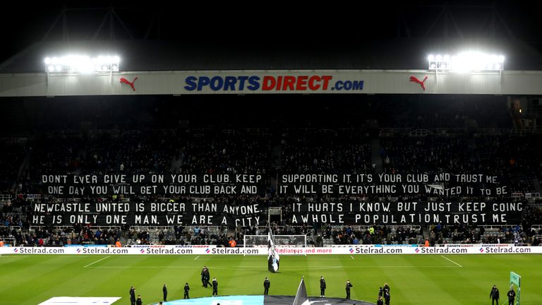 Newcastle fans displayed a Kevin Keegan quote before kick-off in protest against owner Mike Ashley