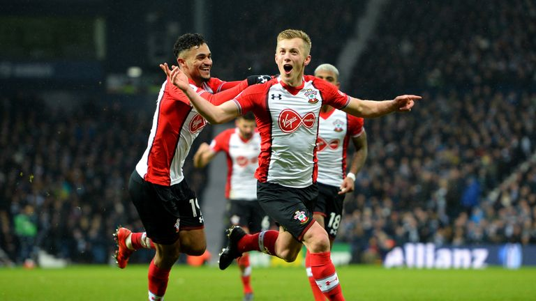 James Ward-Prowse celebrates scoring in Southampton's win at West Brom