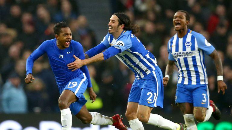 Jose Izquierdo celebrates his goal with Brighton team-mates